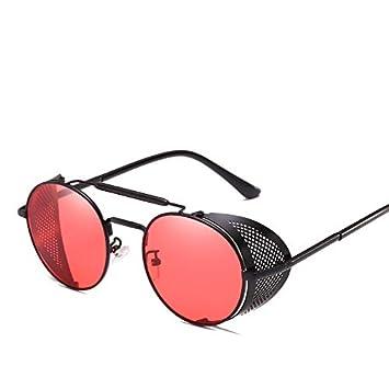 HLLHDG Gafas de Sol Redondas de Metal Hombre Mujer Gafas ...