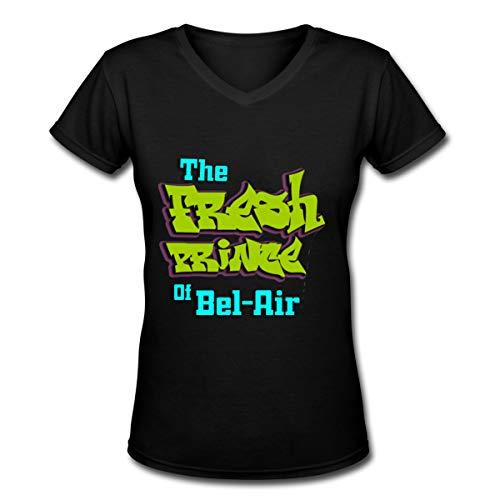 Alepoll The Fresh Prince of Bel-Air V-Neck Short Sleeve T-Shirt Women Black]()