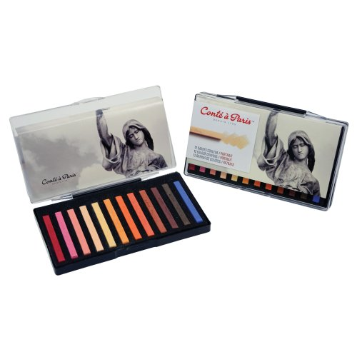 Conté à Paris Colored Crayons Set with 12 Assorted Portrait Colors by Cont  Paris