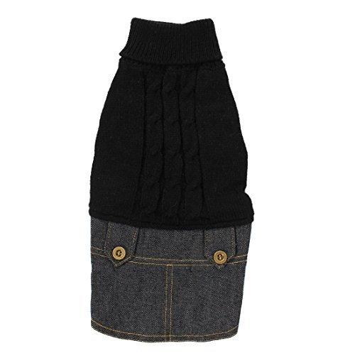 DealMux Pet Dog Winter Warm Sweater Denim Dress Jeans Skirt Clothes S -