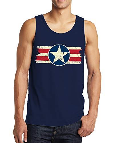(SpiritForged Apparel Vintage USA Emblem Men's Tank Top, Navy Large)