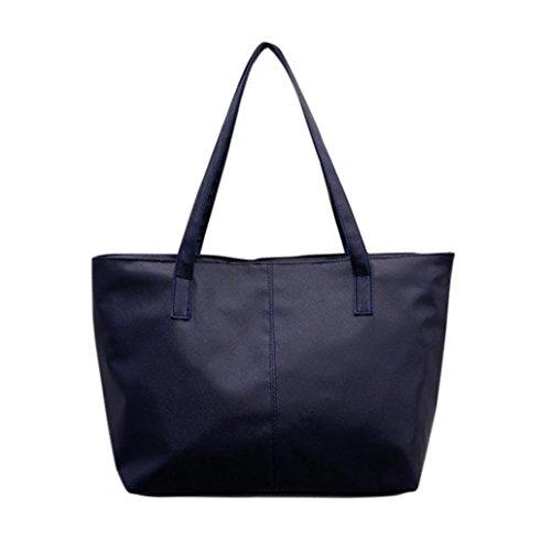 Outsta Ladies Leather Shoulder Bag Pure Color,Women Celebrity Tote Purse Large Messenger Bag Coin Bag Phone Bag Travel Backpack Classic Basic Casual Daypack (Dark Blue)