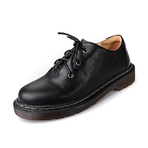 Giy Blonder-up Oxfords Sko For Kvinner Komfortabel Vintage Kile Sklisikre Casual Sko Svart