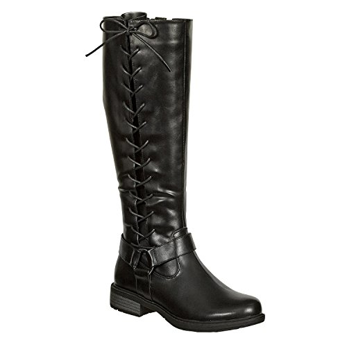 Pierre Dumas Women's Tall Side Lace Harness Riding Boots with Inside Zipper Barcelona-2(89828) (8.5, Black)