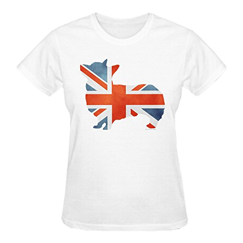 Union Jack Corgi Women's O-Neck T Shirts White (Wings Juniors Tattoo T-shirt)