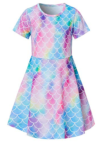 4T Mermaid Dress Little Girls Fish Birthday Party Outfits Daily Todder Sundress 5T Princess Twirl Colorful Dresses Blue Round Neck Short -
