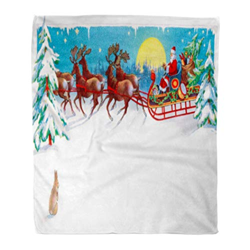 Emvency Flannel Throw Blanket Red Vintage Rabbit Watches Santa Reindeer and Sleigh on Christmas Eve Circa 1915 Area for Claus 60x80 Inch Lightweight Cozy Plush Fluffy Warm Fuzzy Soft