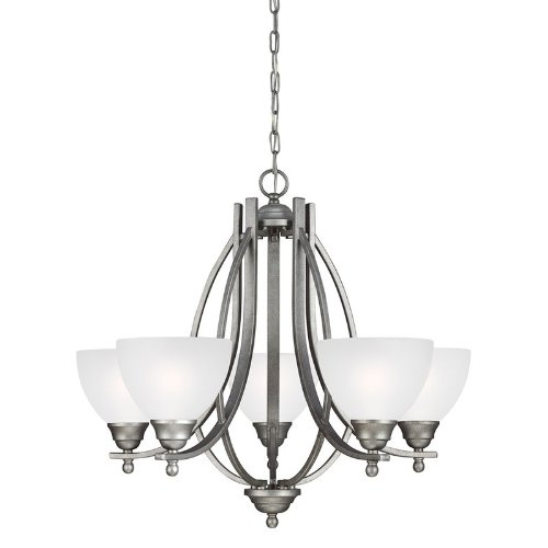 (Sea Gull Lighting 3131405-57 Vitelli - Five Light Chandelier, Weathered Pewter Finish with Satin Etched Glass)