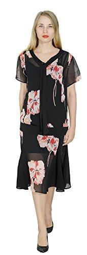 Marycrafts Women't Drop Waist 1920s Lined Floral Godet Dress XS Pink Flower on Black