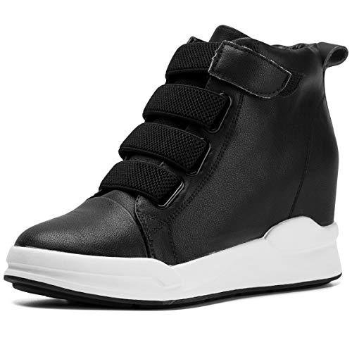 Jivana Women's Casual Platform High-Top Sneaker Hidden Heel Wedge Shoes Lace-up (Black-902, 6.5)