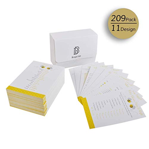 Bee Baby Shower Games, 11 Design 209pcs Each Sheet Card Packs for Boy or Girl Unisex Gender-Neutral Baby Party