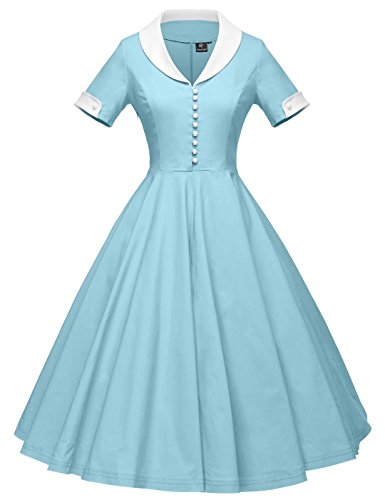 GownTown Womens 1950s Cape Collar Vintage Swing Stretchy Dresses, Lightblue, Large