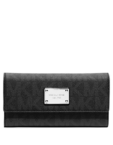 Michael Kors Womens Jet Set 32F1GJSE4B Checkbook Wallet - Ladies Checkbook Black Wallet