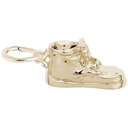 Baby Shoe Charm In 14k Yellow Gold, Charms for Bracelets and Necklaces