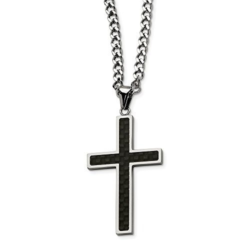 ICE CARATS Stainless Steel Black Carbon Fiber Cross Religious 24 Inch Chain Necklace Man Pendant Charm Crucifix Fashion Jewelry Gift for Dad Mens for Him