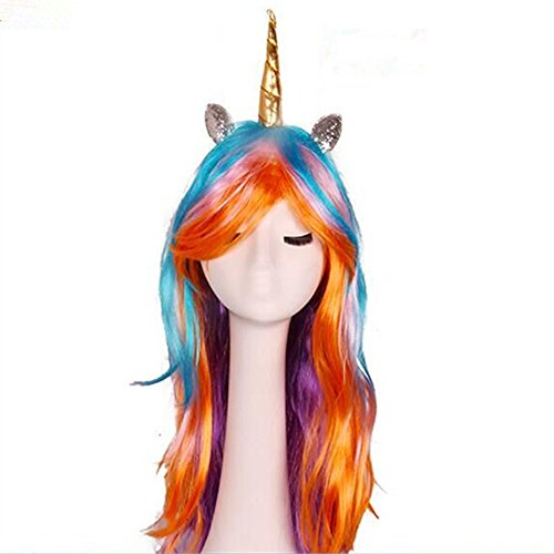 Amazon.com: Sweenaly Golden Horn Silver Angle Little Ma Baoli Colorful Wig (Color): Clothing