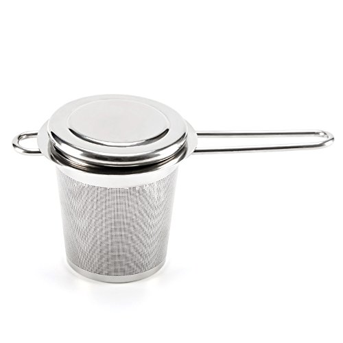 EZOWare Tea Infusers for Loose Leaf Tea [Set of 4] Stainless Steel Fine Mesh Tea Strainer with Handle and Lid, Reusable Tea Steeper for Tea Pot, Cup, Mug by EZOWare (Image #6)