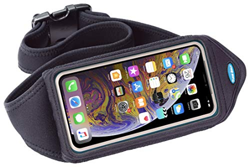 Tune Belt Running Belt for iPhone X Xs 8 7 6s 6 (NOT Plus), Galaxy S6 S7 S8 S9 - Water-Resistant Waist Pack Fits OtterBox & Other Cases [Black]