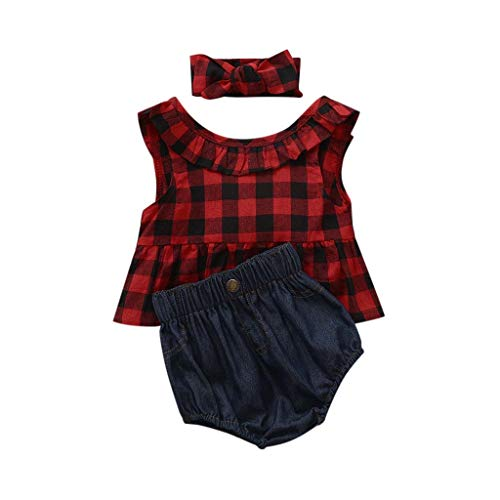 Toddler Baby Girl Outfit,Crytech Plaid Ruffle Sleeveless Bowknot Tank Top Denim Short Pants with Bow Headband for Newborn Infant Kids Photoshoot Beach Summer Clothes (Size:3T, Red)
