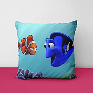 Aqua Fish Cartoon Square Design Printed Cushion Cover