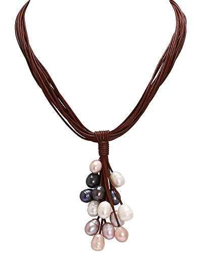 - PERNNLA PEARL Multi-Color Cultured Freshwater Pearl Beaded Cluster Pendant Necklace Handmade Multi-Strand Genuine Leather Necklace Costume Jewelry 19'' Brown