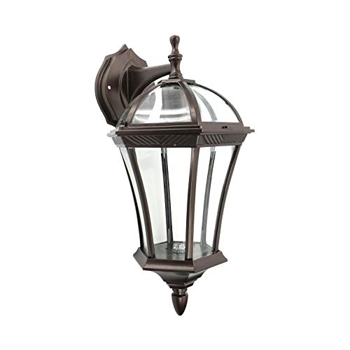 (IN HOME One-Light Outdoor Wall Down Lantern Fixture, Bronze Finish Cast Aluminum Housing with Clear Glass Shade, Waterproof Exterior Wall Lamp Light for Front Porch, Yard, Garage, ETL)