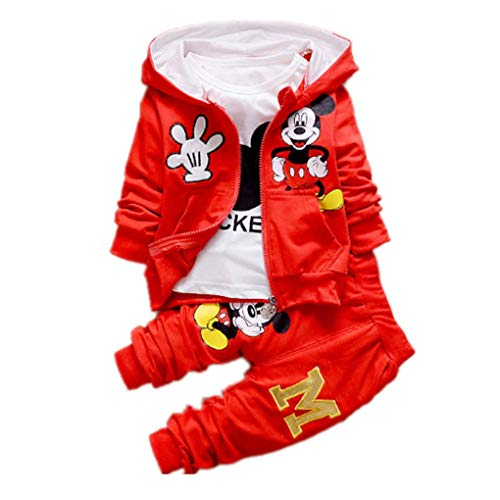 New Children Girls Boys Fashion Clothing Sets Autumn Winter 3 Piece Suit Hooded Coat Clothes Baby Cotton Brand Tracksuits (red, 2T) ()