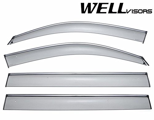 WellVisors Side Window Wind Deflector Visors - Made for and Compatible with Mercedes Benz GL Class X166 GL350 GL450 GL500 GL550 13-up 2013 2014 2015 2016 with Chrome Trim (2014 Mercedes Benz Gl Class Gl450 Suv)