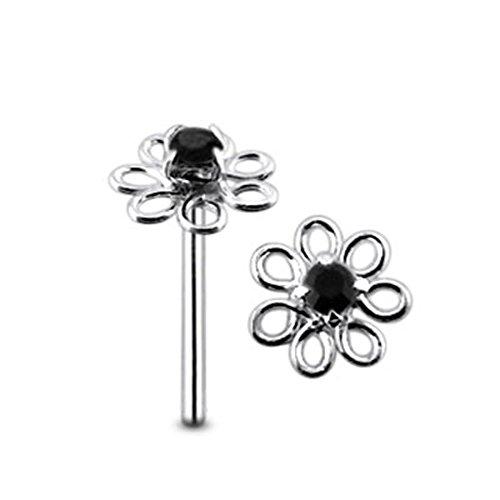Black Jeweled Filigree Flower Top 22 Gauge - 8MM Length Silver Straight End Nose Stud Nose Piercing