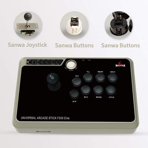 MAYFLASH Arcade Stick F500 Elite with Sanwa Buttons and Sanwa Joysticks for PS4/PS3/Xbox One/Xbox 360/Nintendo Switch/Android/PC Windows/Neogeo Mini