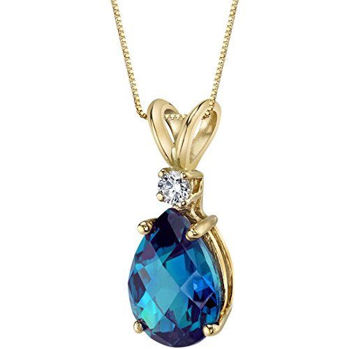 14 Karat Yellow Gold Pear Shape 2.50 Carats Created Alexandrite Diamond (Diamond Pear Shape Pendant)
