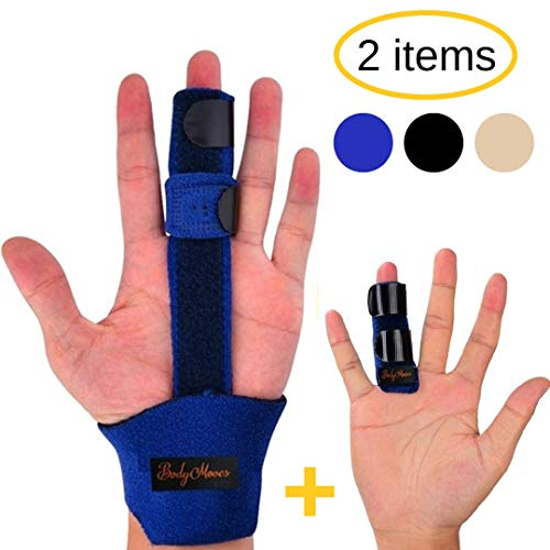 (BodyMoves Finger Splint and Finger Extension Splint Trigger Finger Mallet Finger Broken Finger Post Operative Care Finger Knuckle immobilization Injury (Aqua)
