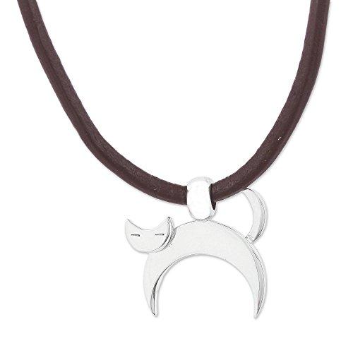 - NOVICA .950 Sterling Silver Leather Pendant Necklace, 17.75