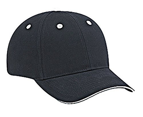 Hats & Caps Shop Brushed Cn Twill Sandwich Visor Low Profile Pro Style Caps - Blk/Blk/Wht - By TheTargetBuys