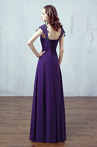 Purple Long Dress Bridal Bridal Gown Chiffon Bridesmaid Aurora Cap Beading Sleeves Yq6xRYUwv