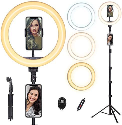 Ringlicht mit Stativ Handy, doosl Dimmbare ringleuchte mit stativ, Handyhalter und Fernbedienung, Ringlicht für Tik tok, Live-Stream, Makeup, YouTube und Fotografie mit 3 Farbe& 10 Helligkeitsstufen