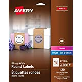 "Avery Print-to-the-Edge Round Labels for Laser and Inkjet Printers, 2"" Diameter, Glossy White, Round, 120 Labels, Permanent (22807)"