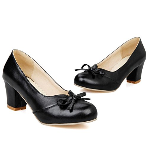 COOLCEPT Fashion Women Block Heels Pumps Slip on Party Court Shoes Sweet Mit Bogen Black oFvz3s