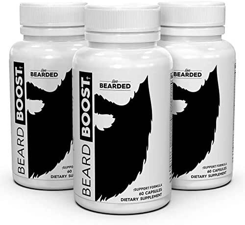 Beard Growth Supplements for Men - Beard Boost Vitamins For Faster Facial Hair Growth For Men - Grow The Beard, Mustache, Or Mack Daddy Sideburns 90 Day Supply 3 Bottles