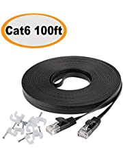 Jadaol Cat 6 Flat Ethernet Cable 100 ft Black with Cable Clips – Slim Long Network Cable– Fast Ethernet Patch Cable– with Snagless Rj45 Connectors – 100 feet Black (30 Meters)