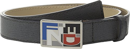 Fendi Kids Boy's Leather Belt w/ Multicolor Logo Buckle (Little Kids/Big Kids) Dark Grey Belt 8 Years
