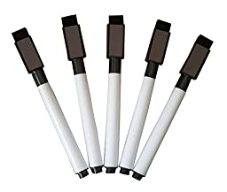 New 5 Black Dry Erase Low-Odor Markers with Cap-Mounted Eraser & Magnet