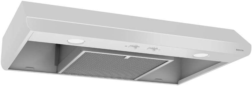 Broan-NuTone BKSA130WW Sahale Range Hood with Light Exhaust Fan for Under Cabinet, 250 CFM, 30-Inch, White