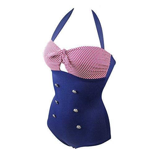 ERWAA Badeanzug Damen Bademode Bikini Set Bauchweg Schwimmanzug Vintage Streifen Marine Elegant für Frauen Strand Schwimmen Wassersport Blau