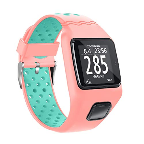 Sodoop Strap Compatible for Tomtom Runner 1, Fashion Waterproof Breathable Sport Texture Soft Silicone Replacement Wristband Bracelet for Tomtom Multi-Sport Cardio GPS+ HRM Watch