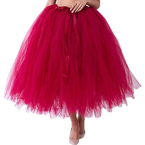 XiongBuy Women Mesh TulleTutu Skirt Color Matching Skirt Princess Bridesmaid Dress Bubble Maternity Skirt (Wine -