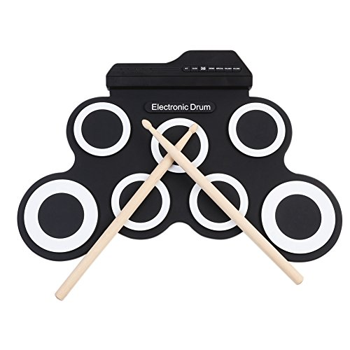 rum Pad Set Roll-Up with MIDI Jack, Double Bass Pedal, Built in Speaker Headphone for Practice Starters Kids by TimeCollect ()