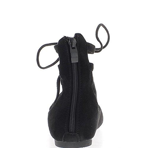 Bailarina negra con encaje y abrazaderas de tobillo de Sharp