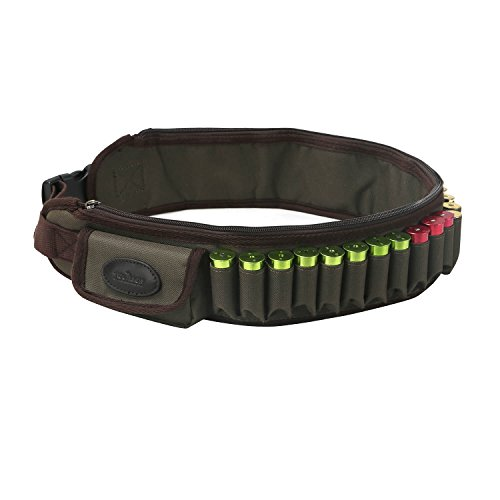 TOURBON Shotgun Hunting 12 Gauge Shot gun Shell Cartridge Ammo Bandolier Belt With Two Pockets - Green