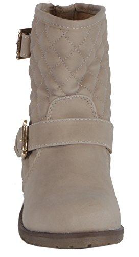 Beige Biker Trendboutique Femme Boots Steppmuster qpBpwCT6z